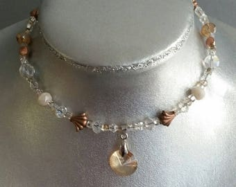 Choker with Crystal in Pendant in Bronze