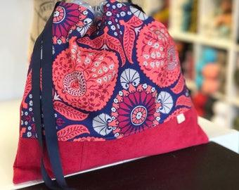 Floral Drawstring Bag - Knitting Project Bag - Crochet Project Bag - WIP - Yarn Keeper - Sock Bag - Everything Bag - Drawstring Tote