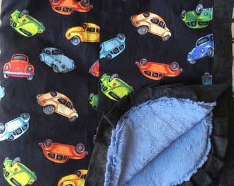 NEW...Volkswagen Bug Minky Blanket - HUGE - Adult Wrap Around Size Blanket - Can Be Personalized