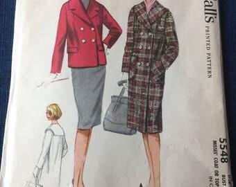 Vintage 1960 McCall's Coat Pattern #5548 Size 14, Bust 34 Uncut  Vintage McCall's Pattern 60s McCall's Sewing Pattern