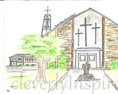 Custom watercolor, church...