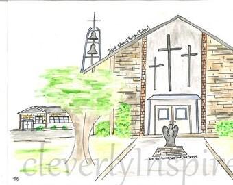 Custom watercolor, church, home, school, personalized, handpainted