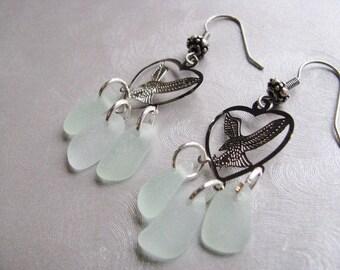 Eagle Sea Glass Earrings - Seafoam Sea Glass - Chandelier Earrings - Eagle Charm - Beach Glass Jewelry - Ocean Jewelry Gifts of the Sea