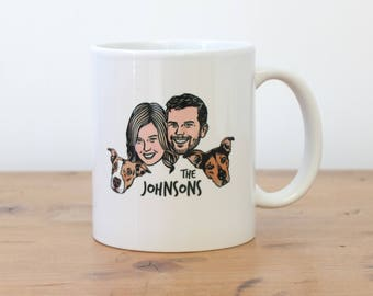 Personalized gift for coffee lovers couple Custom portraits Inspirational mug Unique art personal mug / wedding / bachelorette gift idea