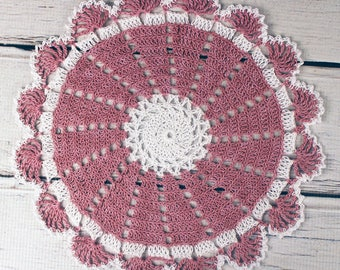 Lovely Crocheted Dusty Rose White Doily - 10 1/2 inches