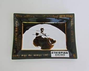 Ethiopian Airlines Souvenir Glass Trinket Tray, The Horn of Africa, MCM East African Ephemera