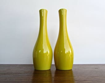 Asahi Modern Tall-Yellow Porcelain Bud Vases, Bright Cheerful and Timeless
