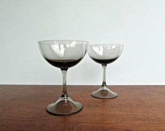 Espana Noche by Block, 1966 Spain, Smoke Colored Champagne Coupe Glass or Tall Sherbet