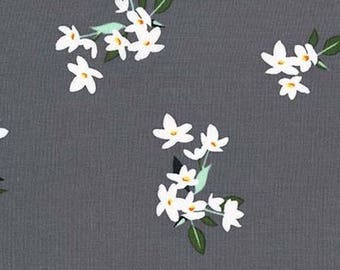 One (1) Yard - Lily-of-the-Valley White flowers print Michael Miller Fabrics  CX7144-PEAR-D Pearl Gray