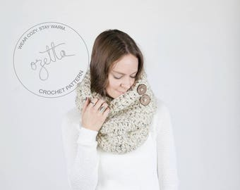 Crochet Pattern / Chunky Button Down Cowl, Neckwarmer With Wood Buttons / THE YOSEMITE