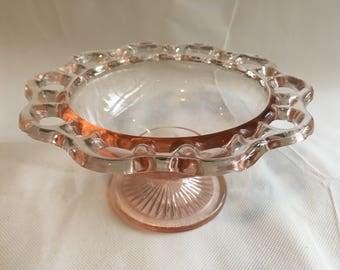 Pink pressed glass pedestal bon bon bowl