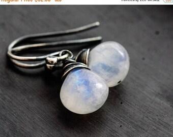 Summer Sale Moonstone Drop Earrings, Rainbow Moonstone Dangle Earrings, Sterling Silver Gemstone Earrings