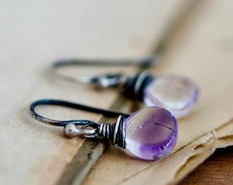 Moss Amethyst Earrings, Amethyst Earrings, Drop Earrings, Dangle Earrings, Wire Wrapped, Sterling Silver, Purple, Violet, PoleStar