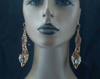 Beautiful Gold and Black High High Heel Shoe Earrings, Embellished with Rhinestones, Women Earrings, Long Earrings Fashion Earrings