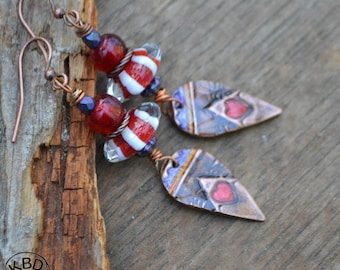 Painted Copper Valentine Celebration Ice Resin and Lampwork Earrings
