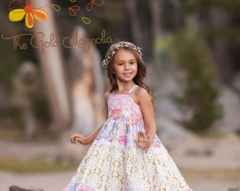 ON SALE Girls Maxi Dress - Girls Boho Maxi Dress - Pink Maxi Dress - Floral Maxi Dress -Twirl Maxi Dress - Flower Girl Dress
