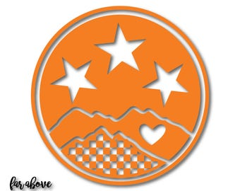 East Tennessee TN Tri-Star Tristar with Checkerboard Smoky Mountains Heart - SVG, DXF, png, jpg digital cut files for Silhouette Cricut