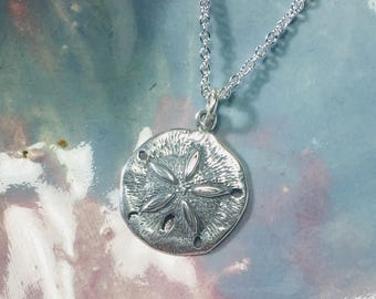 Sand Dollar Necklace .925 Sterling Silver Pendant, Beach, Nautical, Gifts for Her