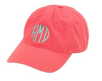 Coral Monogrammed Ball Cap-Monogram Hat- Personalized- Ball Cap