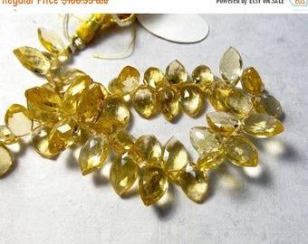 SALE 20% Off Citrine Briolette Beads Marquise 8mm 10mm 12mm ,  Sparkling Pristine, Natural Gemstone