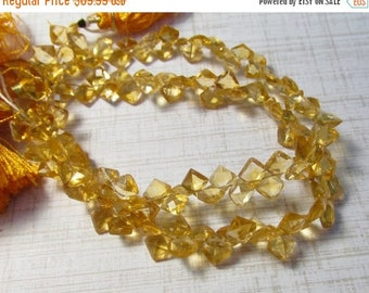 20% Off OUT Of TOWN SALE Fine Natural Citrine Briolette Beads, 9 Inches, Cushion Square Citrine 7mm
