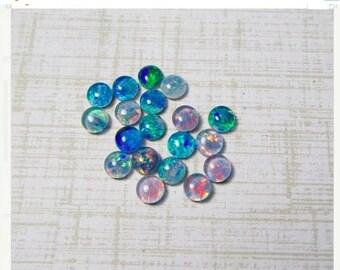 20% OFF SALE Australian Opal Cabochon 4mm Round, QTY2 Intense Color Play Triplet Cabochon