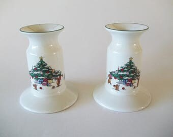 Whimsical Christmas Tree Candle Holders, Salem China, Set of 2, 1980s