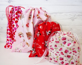 Reusable Gift Wrap - Valentines Day Gift Bag - Add Gift Wrap - Paperless - Fabric Gift Bags - Eco Friendly - Hearts I Love You in Red Pink