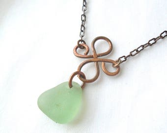 Sea Foam Sea Glass Floating Clover Necklace in Copper