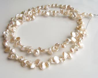 White Keishi Pearls, White Cultured Pearls, White Freshwater Pearls, White Pearls, 5-6mm, 14 in strand, 10% off use code SAVE10