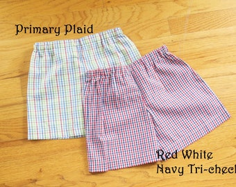 Toddler and Youth Boys or Girls plain shorts with elastic waist - COLOR CHOICE - 12 months to size 8