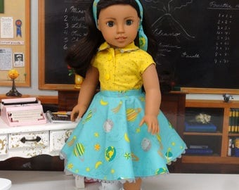 Planetarium - circle skirt and blouse ensemble for American Girl doll with saddle shoes