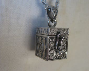 Prayer Box Initial S Wish Box Christian Sterling Necklace Vintage Pendant 925 Silver