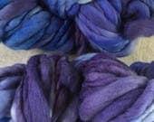 Blue and  Purple handspun hand dyed chunky Mini Hank