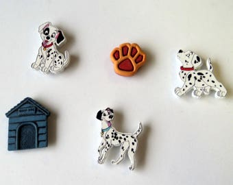 5 Dog Theme Magnets, Dalmatians Dog House Dog Paw, Repurposed Buttons, handmade magnets, Dog Lover Kitchen Decor by Takuniquedesigns, M2