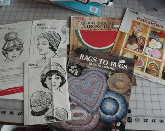 Lot of miscellaneous crochet patterns 1970s hats Potholders rugs Doily
