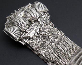 Victorian Revival Mesh Slide Bracelet Thistle Vintage Whiting Davis Jewelry B8042