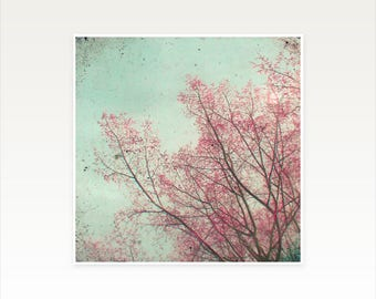 CLEARANCE SALE! Tree Art, Pink and Green Wall Art - Run Away With Me