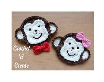 Monkey Face Applique Crochet Pattern (DOWNLOAD) CNC41