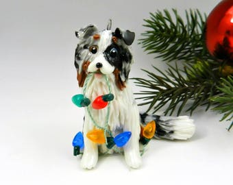 Collie Shetland Sheepdog Blue Merle Christmas Ornament Figurine Lights Porcelain