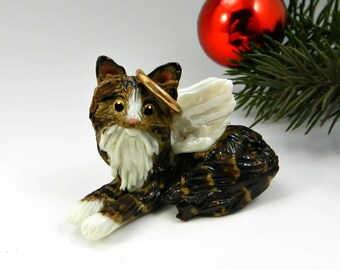 Angel Maine Coon Cat Norwegian Forest Brown Tabby Christmas Ornament Porcelain