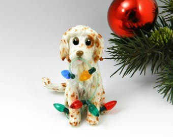 English Setter Orange Belton Christmas Ornament Figurine Lights Porcelain