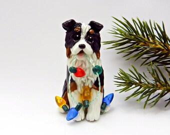 Australian Shepherd Tricolor Christmas Ornament Figurine Lights Porcelain