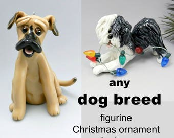 Any Dog Breed PORCELAIN Christmas Ornament Figurine Made to Order