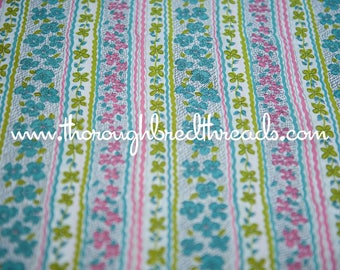 Neon Flower Stripes- Vintage Fabric New Old Stock Lime Green Pink Rick Rack