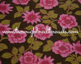 Pink on Brown - Vintage Fabric  60s 70s New Old Stock Floral Flowers Roses