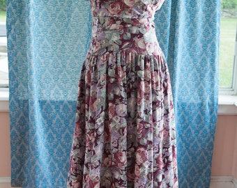 Vintage Floral Dress - Laura Ashley Burgundy 80s