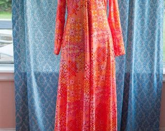 Vintage Gown - Maxi Mod Groovy Pink Orange Geometric Robert David Morton