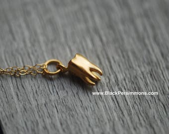 Realistic Tooth Necklace - 24K Gold Plated Sterling Silver Charm - 14K Gold Filled Delicate Chain - Insurance Included