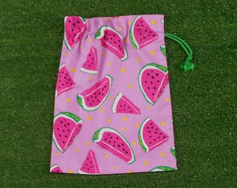 Watermelons small pink drawstring pouch, gift bag, snack bag, toy bag